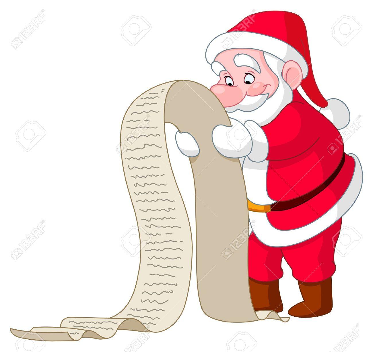 Santa Reading A Long Christmas Wish List Royalty Free Cliparts.