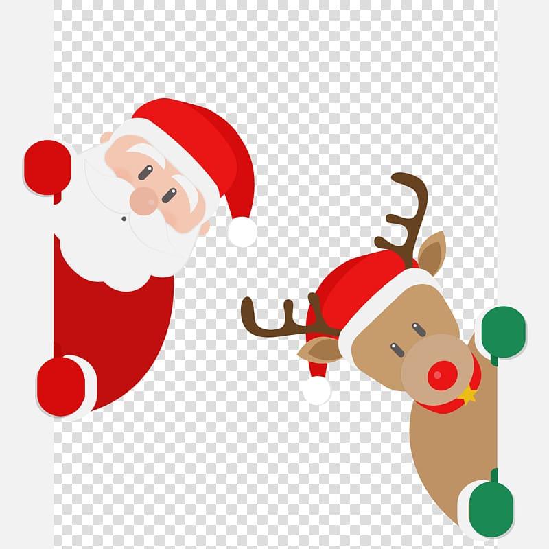 Rudolph Santa Claus Reindeer , Santa and deer transparent.