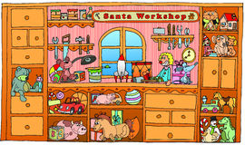 Santa's Workshop Stock Illustrations.