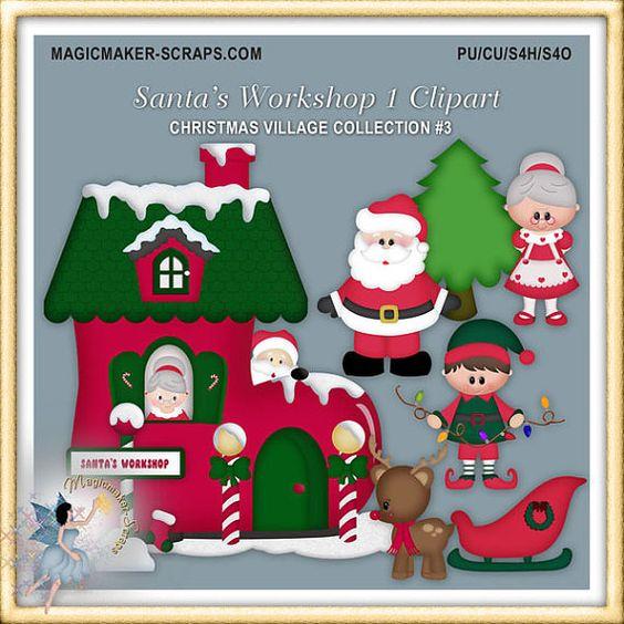 Santa Claus Workshop Christmas Village Clipart.