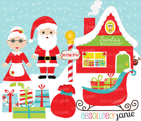 Santa Workshop Clipart.