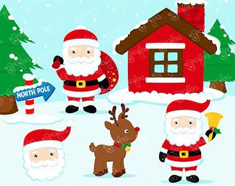 North Pole Santa's Workshop Clipart.