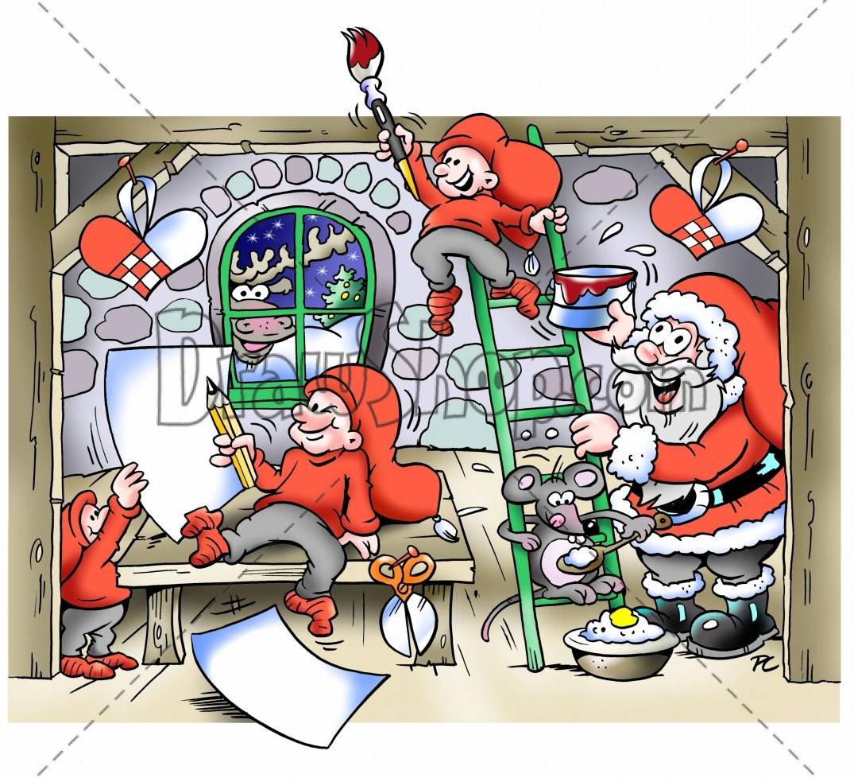 Clipart of santa workshop.