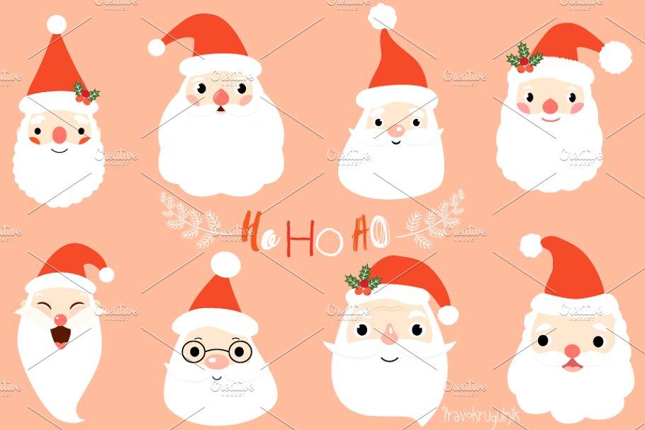 Cute Santa faces clip art set.