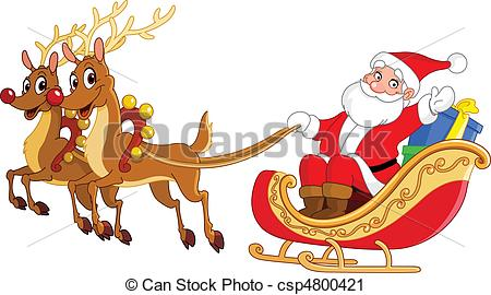 Clipart Images Of Santa On His Sled.