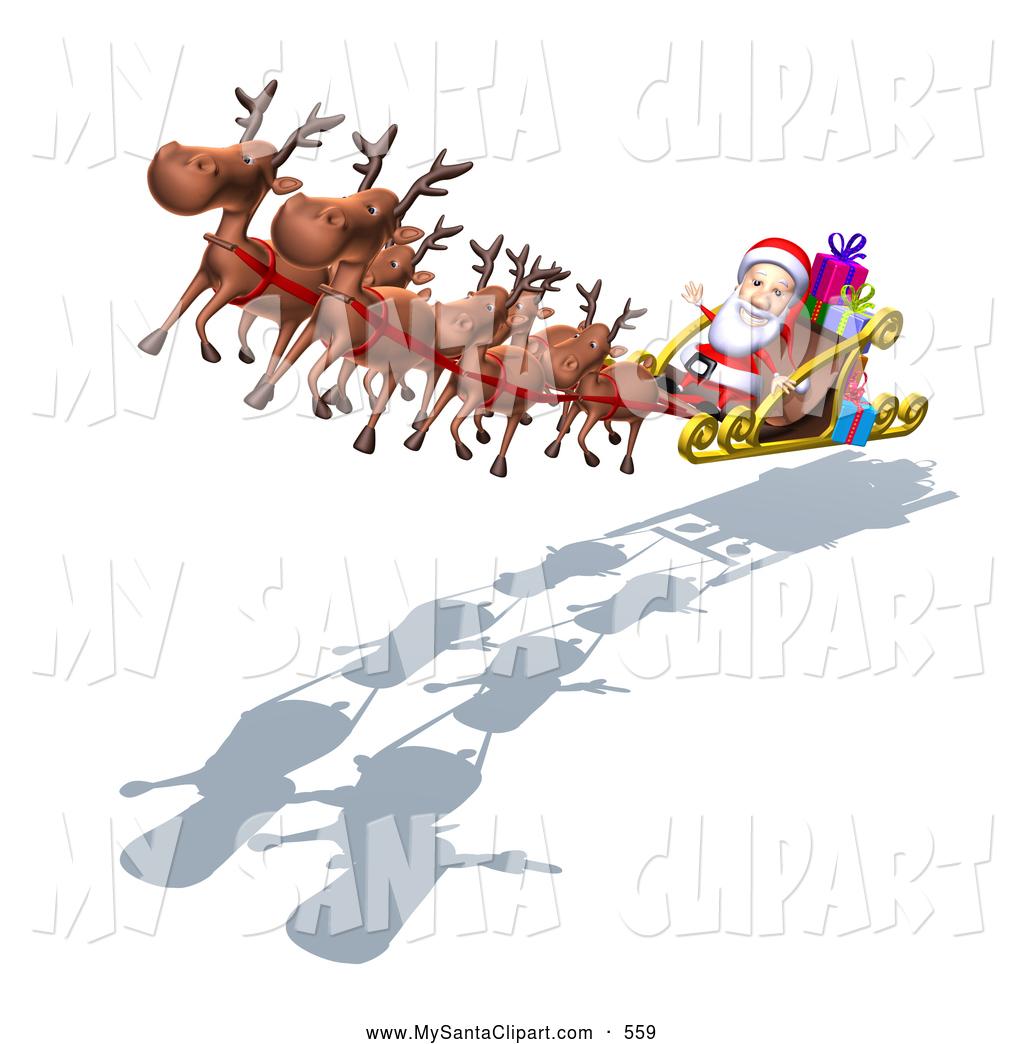 Santa Clipart In His Sled.