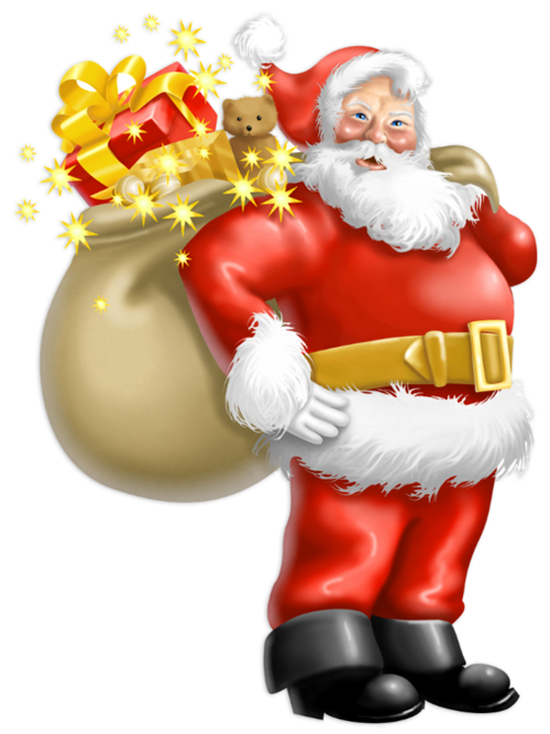 Transparent Santa Claus with Gifts PNG Clipart.