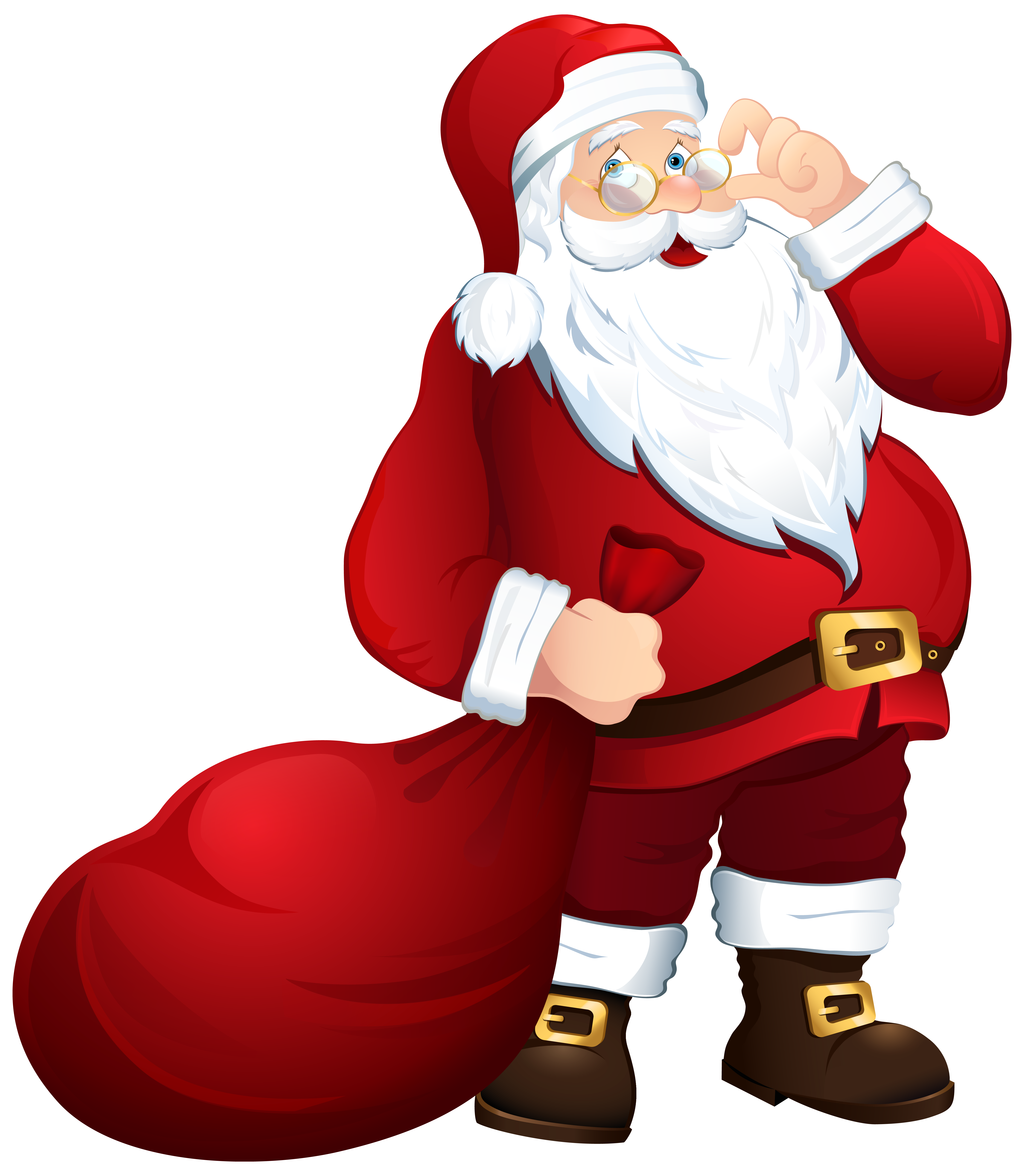 Santa Claus with Bag PNG Clipart Image.