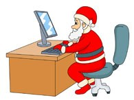Santa sitting at desk using computer » Clipart Portal.