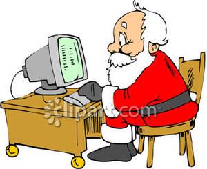 Santa Using a Computer.
