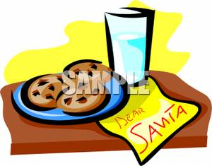 Cookies And Milk For Santa Claus.