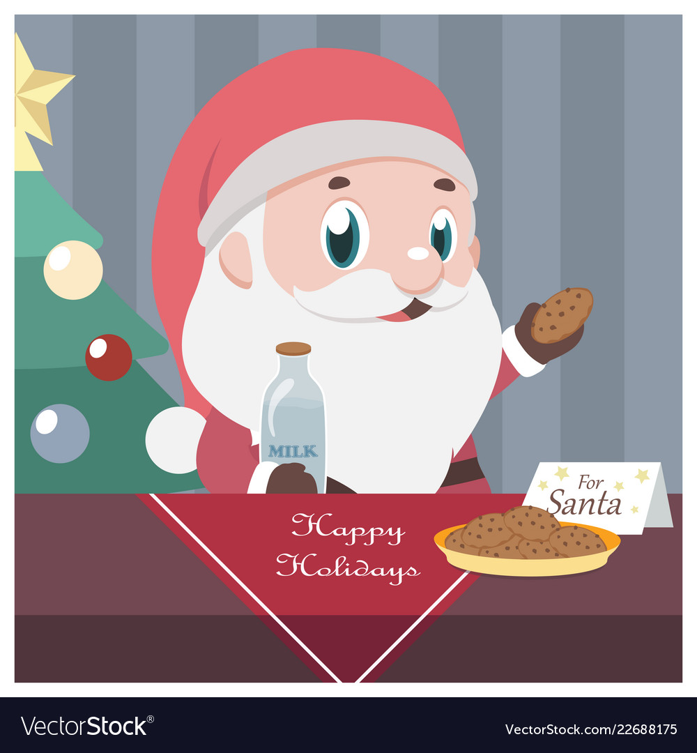 Christmas scene with santa taking milk and cookies.