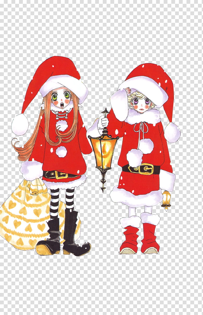 Watchers Special, two anime characters in Santa costumes.