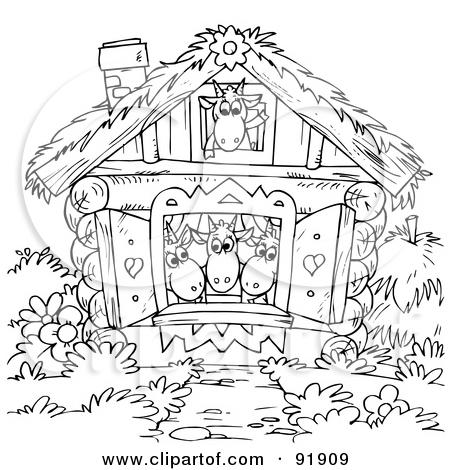 Santa Cottage Clipart