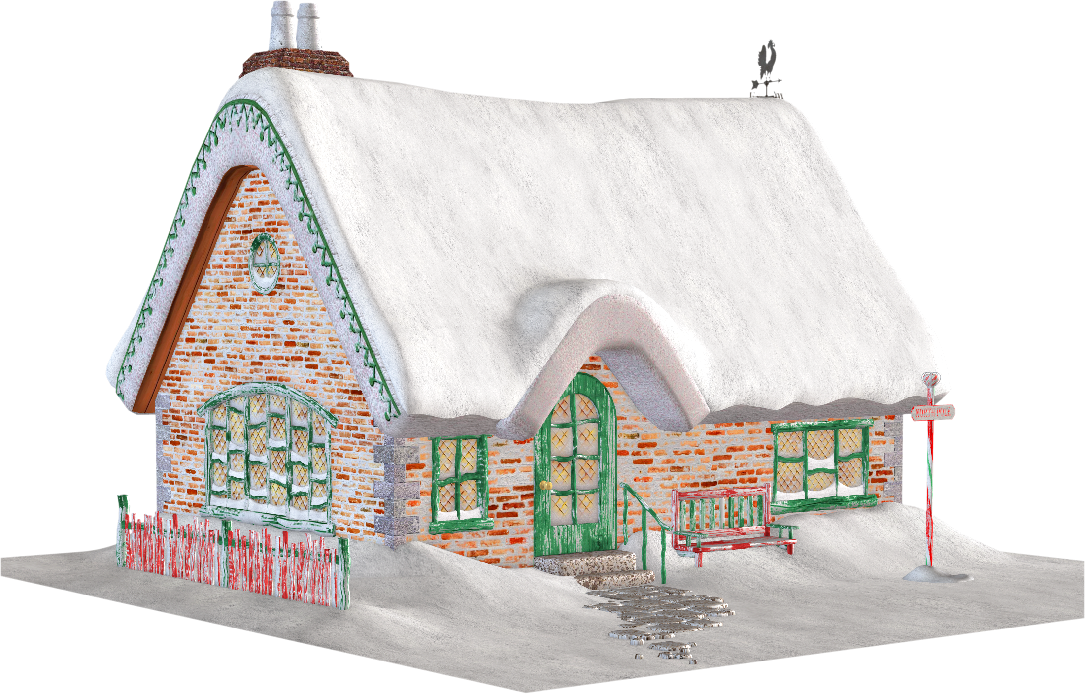 Free Christmas Cottage Clipart.