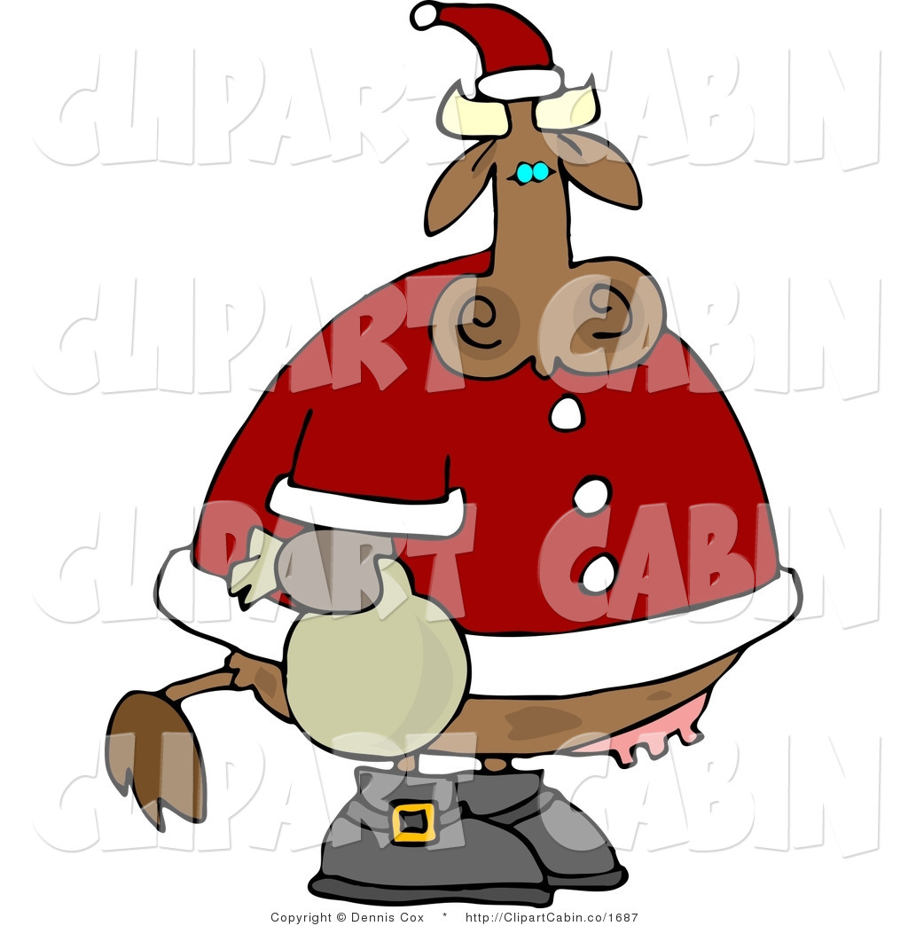 Santa cow clipart.