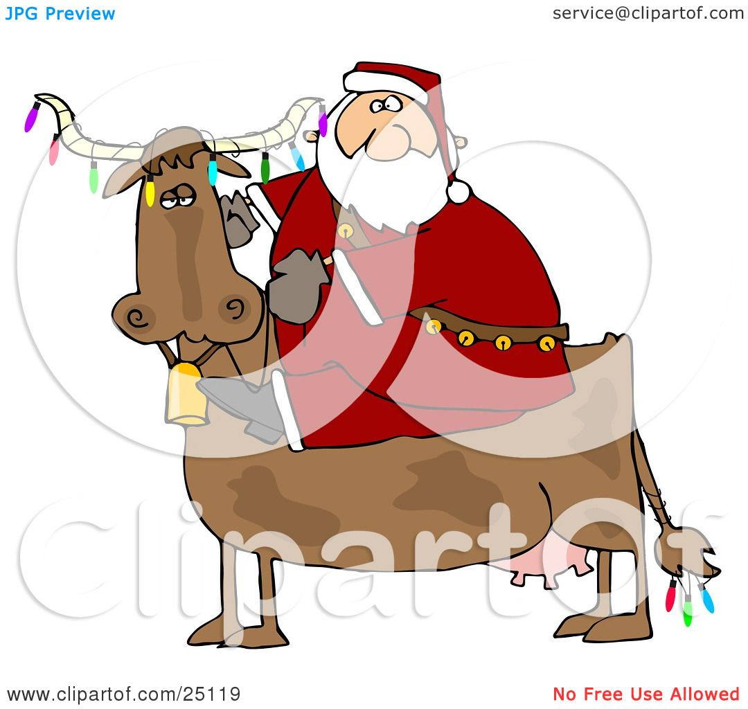Clipart Illustration of Santa Riding A Cow Decorated In Colorful.