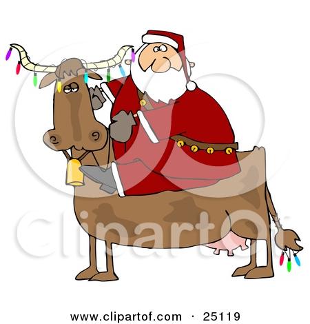 Happy Santa Cow Clipart.