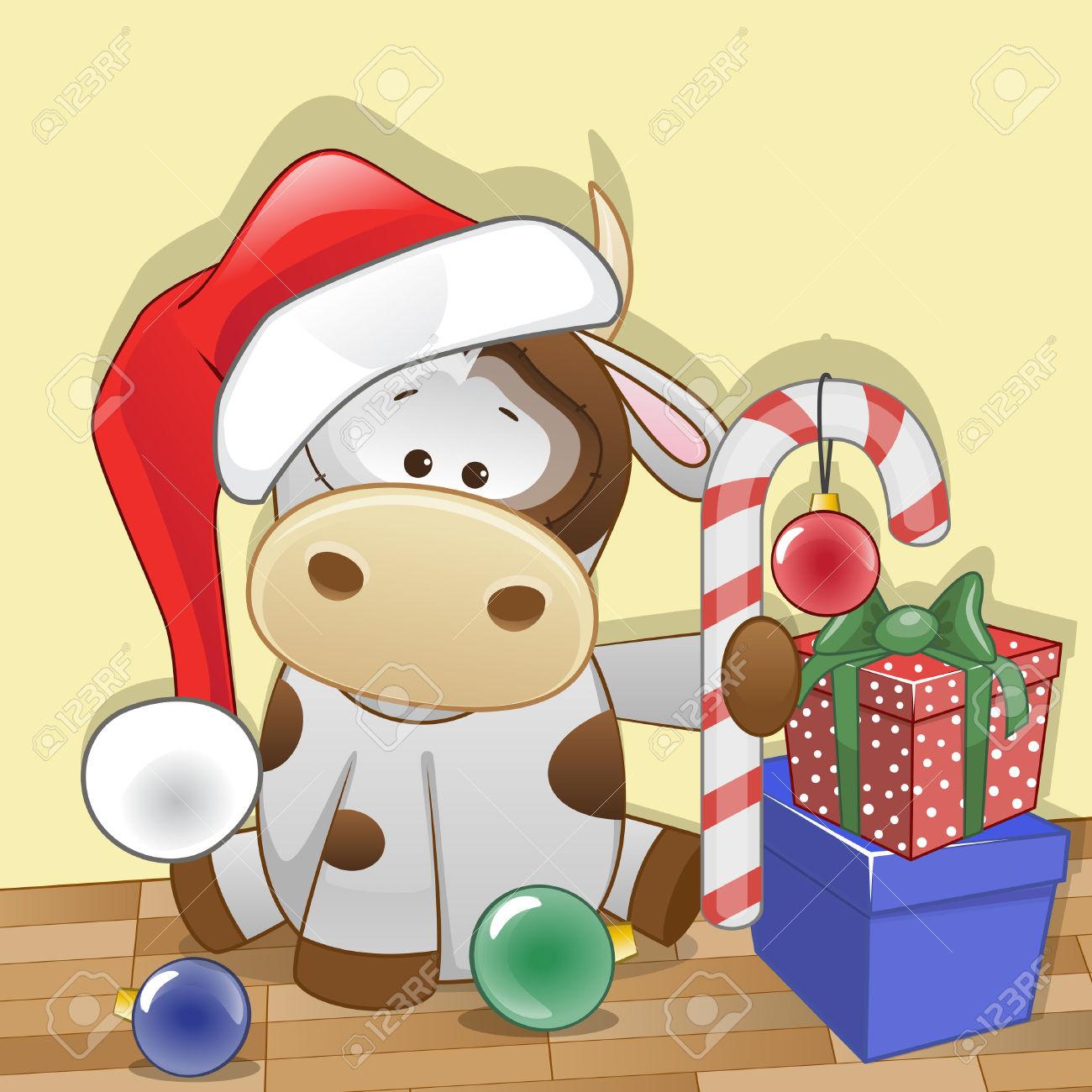 Christmas Illustration Of Cartoon Santa Cow Royalty Free Cliparts.