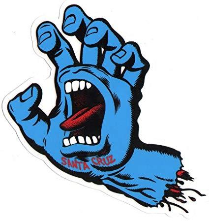 Santa Cruz Screaming Hand Skateboard Sticker in Blue.