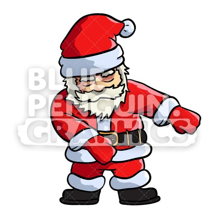 Santa Floss Dance Vector Cartoon Clipart Illustration.
