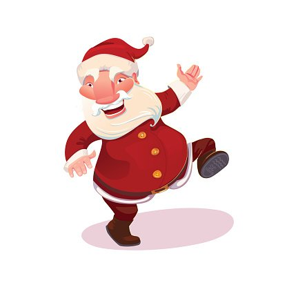 Santa dancing vector illustration Clipart Image.