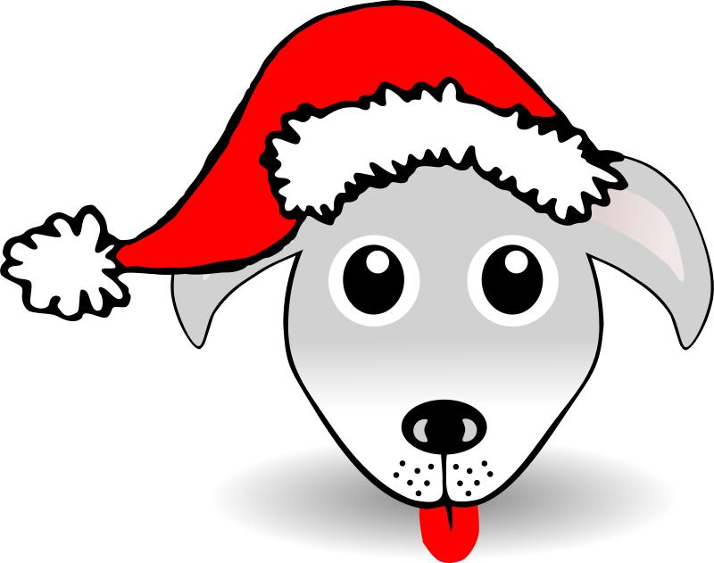 Free Clipart: Funny Dog Face Grey Cartoon with Santa Claus.