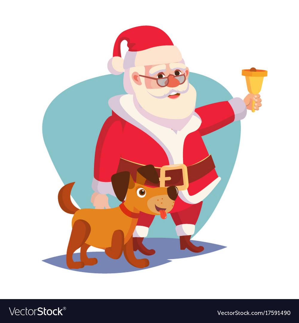 Santa claus and happy dog ringing gold.