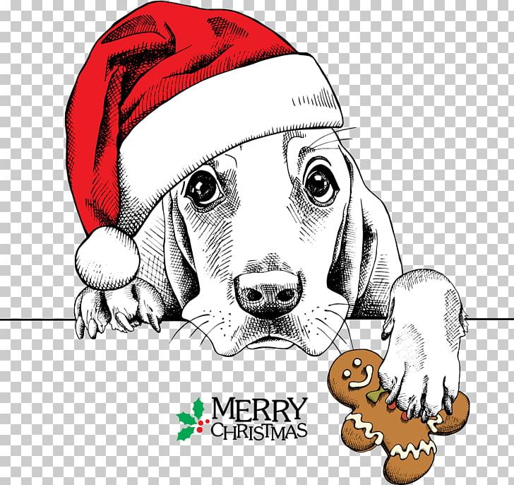 Basset Hound Dachshund Pug Santa Claus Christmas, Meng Meng.