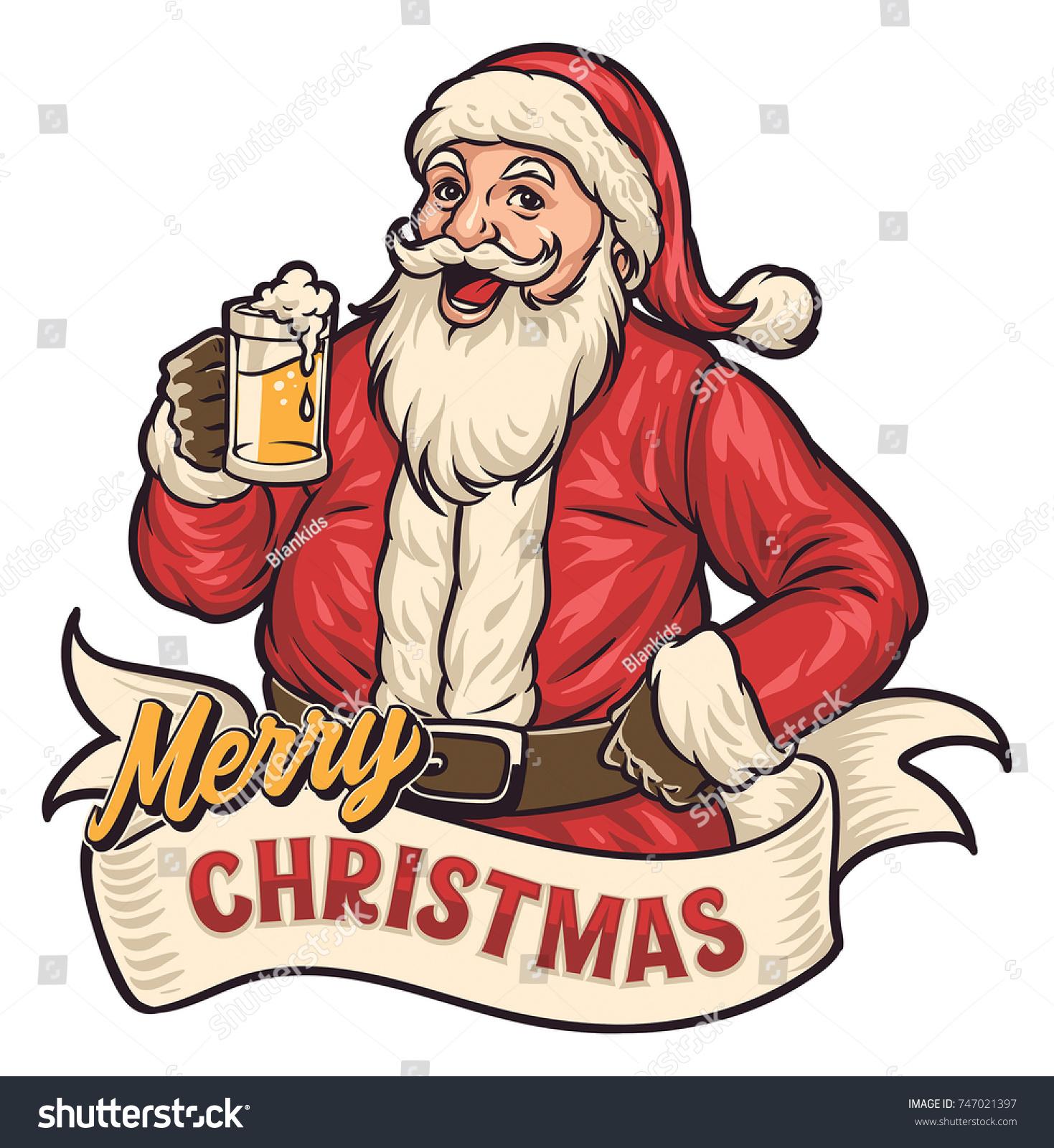 Santa Drinking Beer Clipart.