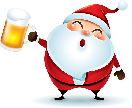 Santa Claus with beer Clipart Image.