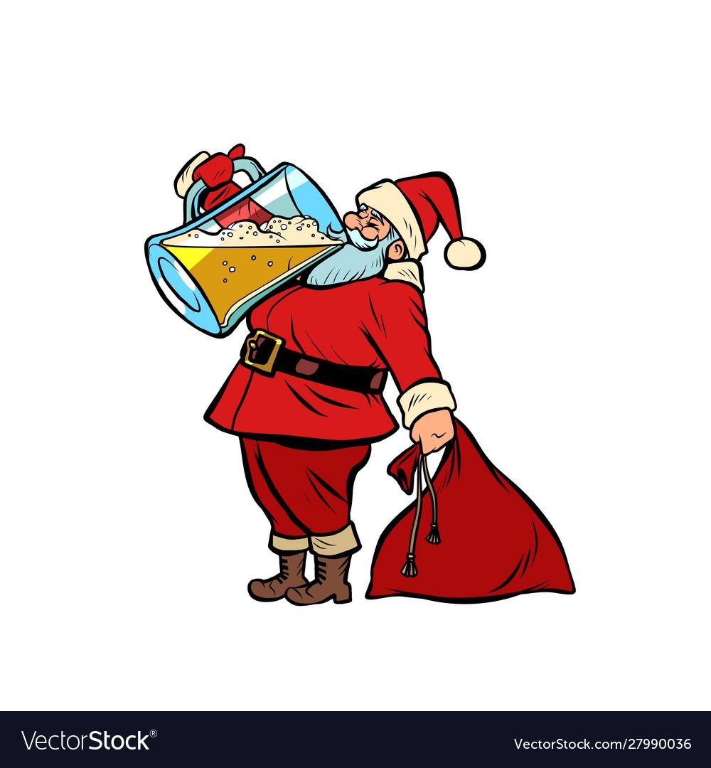Santa claus drinking beer christmas and new year.