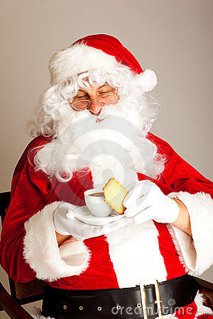 Coffee Time For Santa Claus Stock Photo.