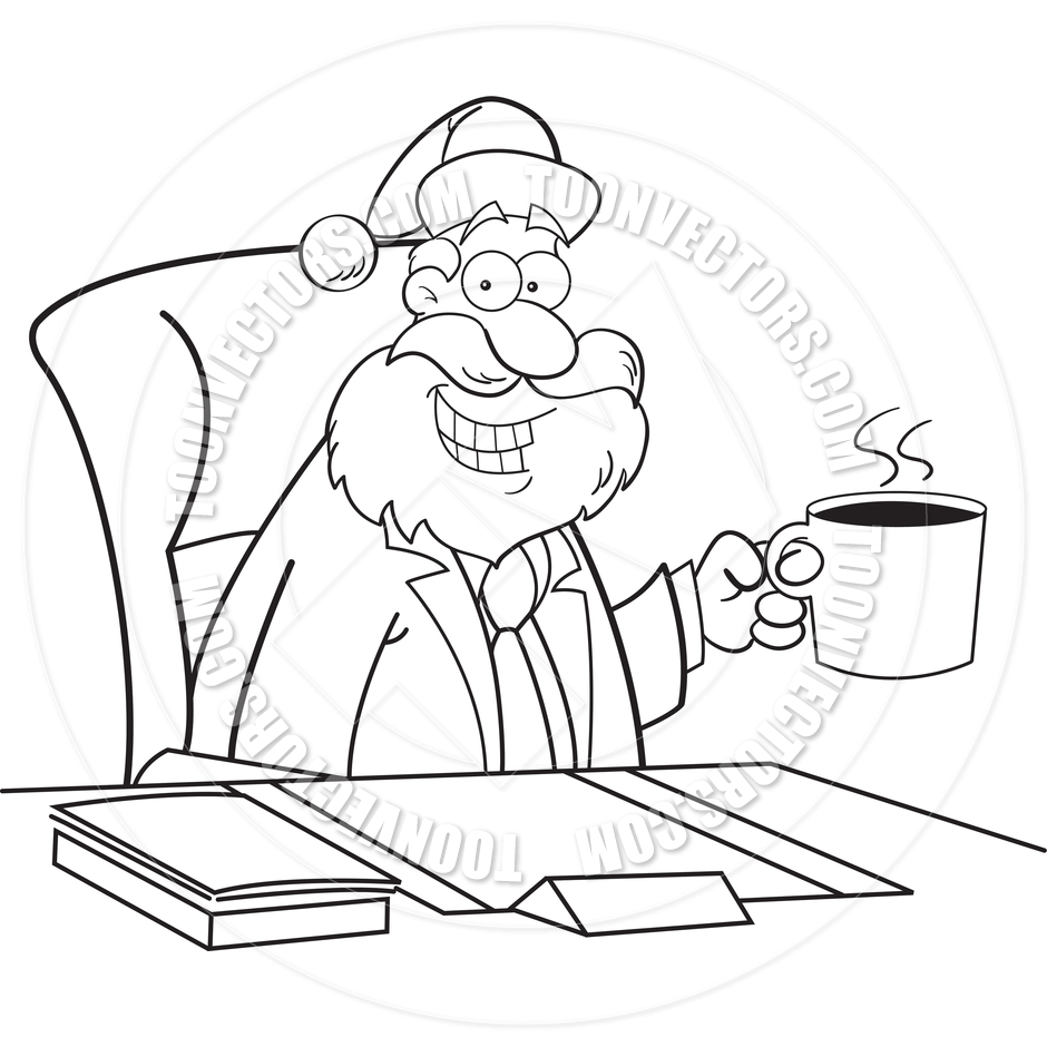 Cartoon Santa Claus Drinking Coffee (Black and White Line Art) by.