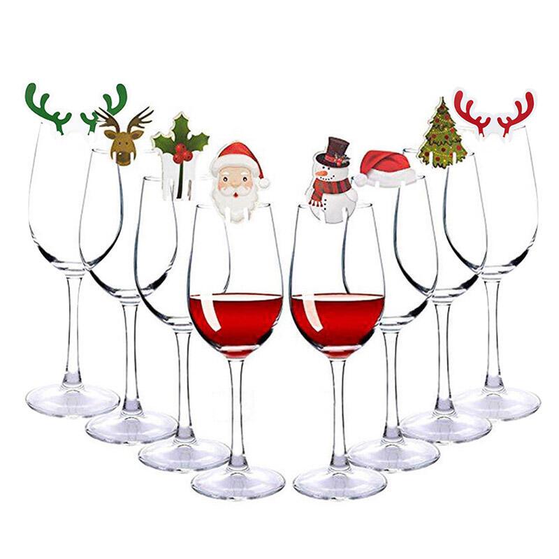 8 Pcs Snowman Santa Claus Christmas Glass Decoration.