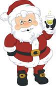 Santa Drinking Wine Clipart.