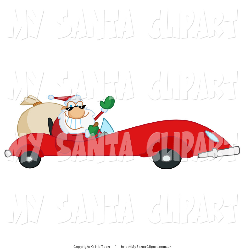 Christmas Clip Art of Santa Driving a Red Sports Car by Hit.