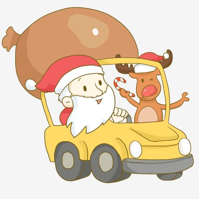 Christmas Santa Claus Driving A Car Christmas Santa.