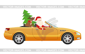 Santa Claus Drive on Cute Luxury Car with Reindeer.