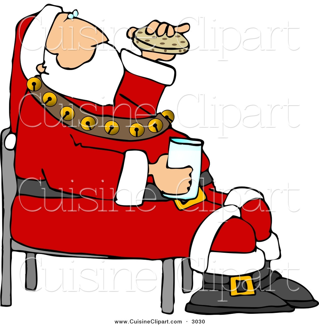 Cuisine Clipart of a Festive Santa Eating Chocolate Chip.