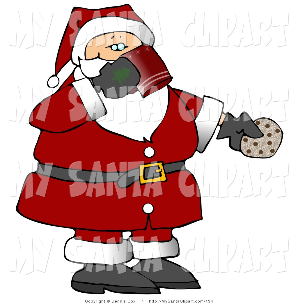 Christmas Clip Art of a Santa Claus Drinking Milk and Eating.
