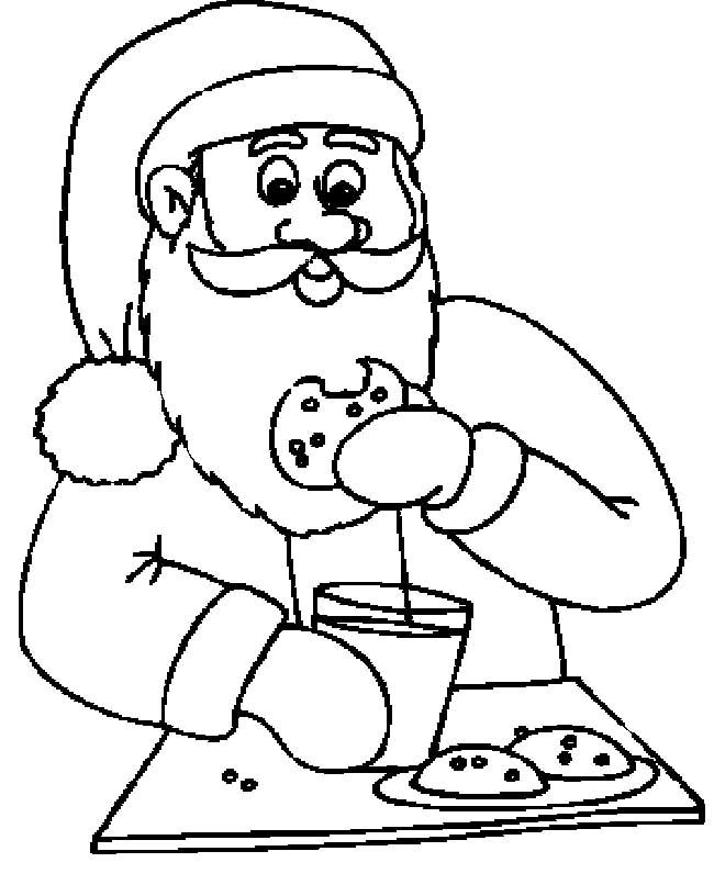 Santa Claus Eating Cookies And Drinking Milk Funny Cartoon.