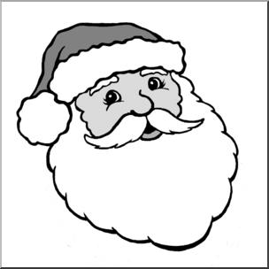 Clip Art: Santa 1 Grayscale I abcteach.com.