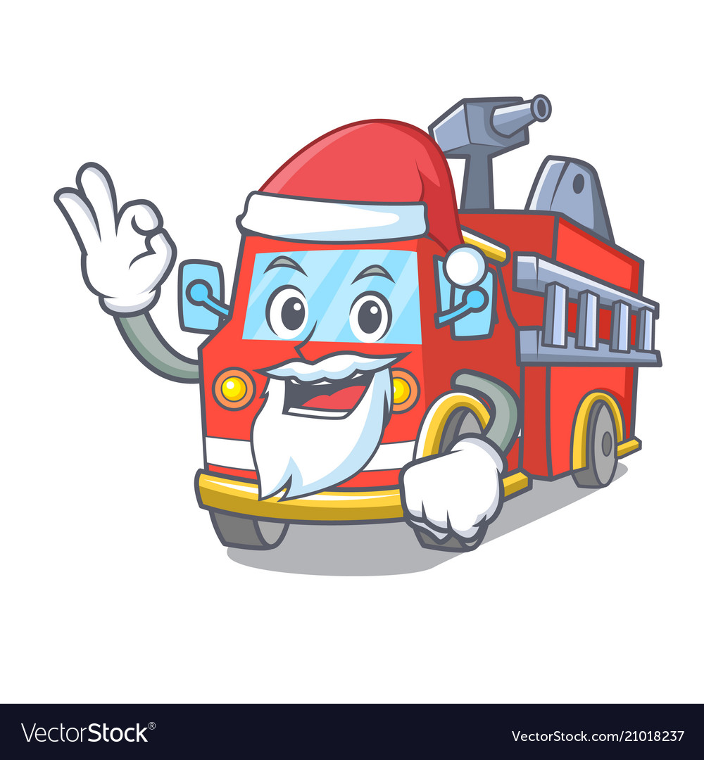 Santa fire truck mascot cartoon.