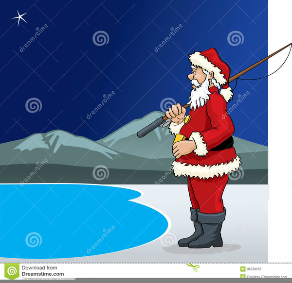 Clipart Santa Fishing.