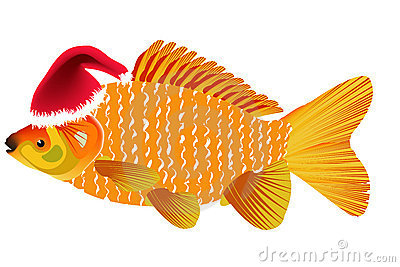 Fish with santa hat clipart.