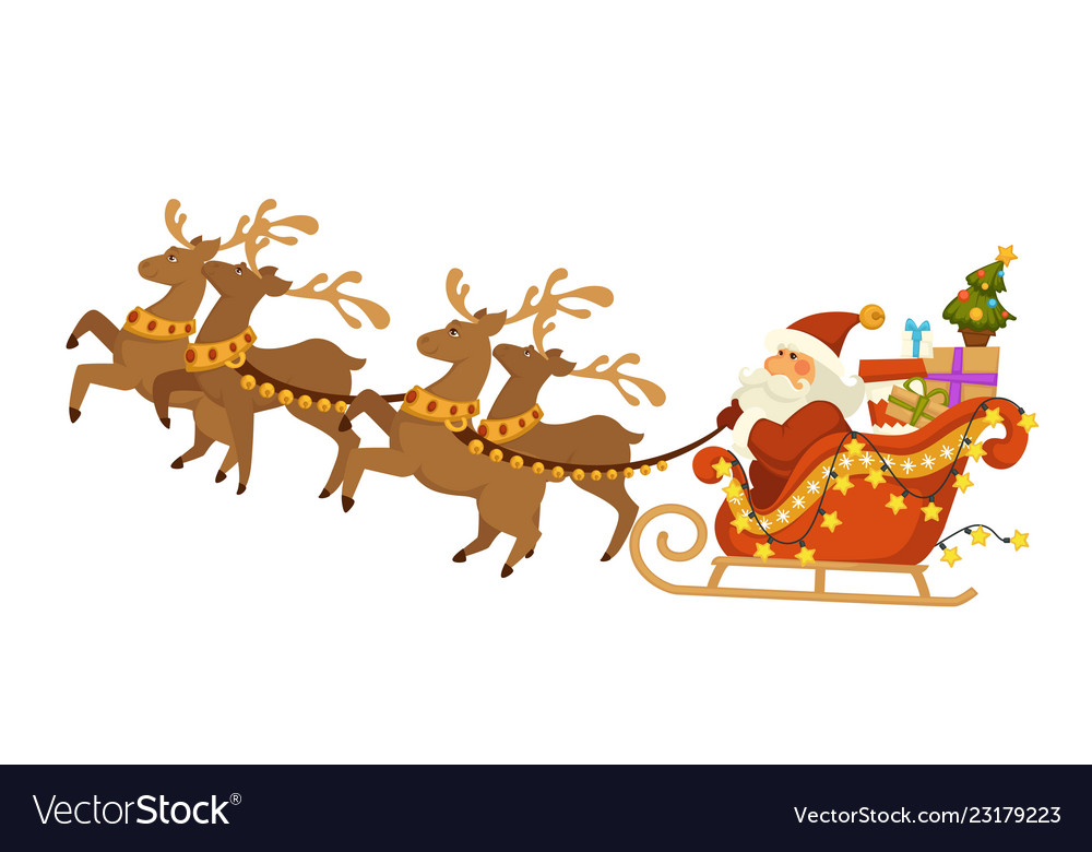 Santa claus and deers with sleigh flying over.