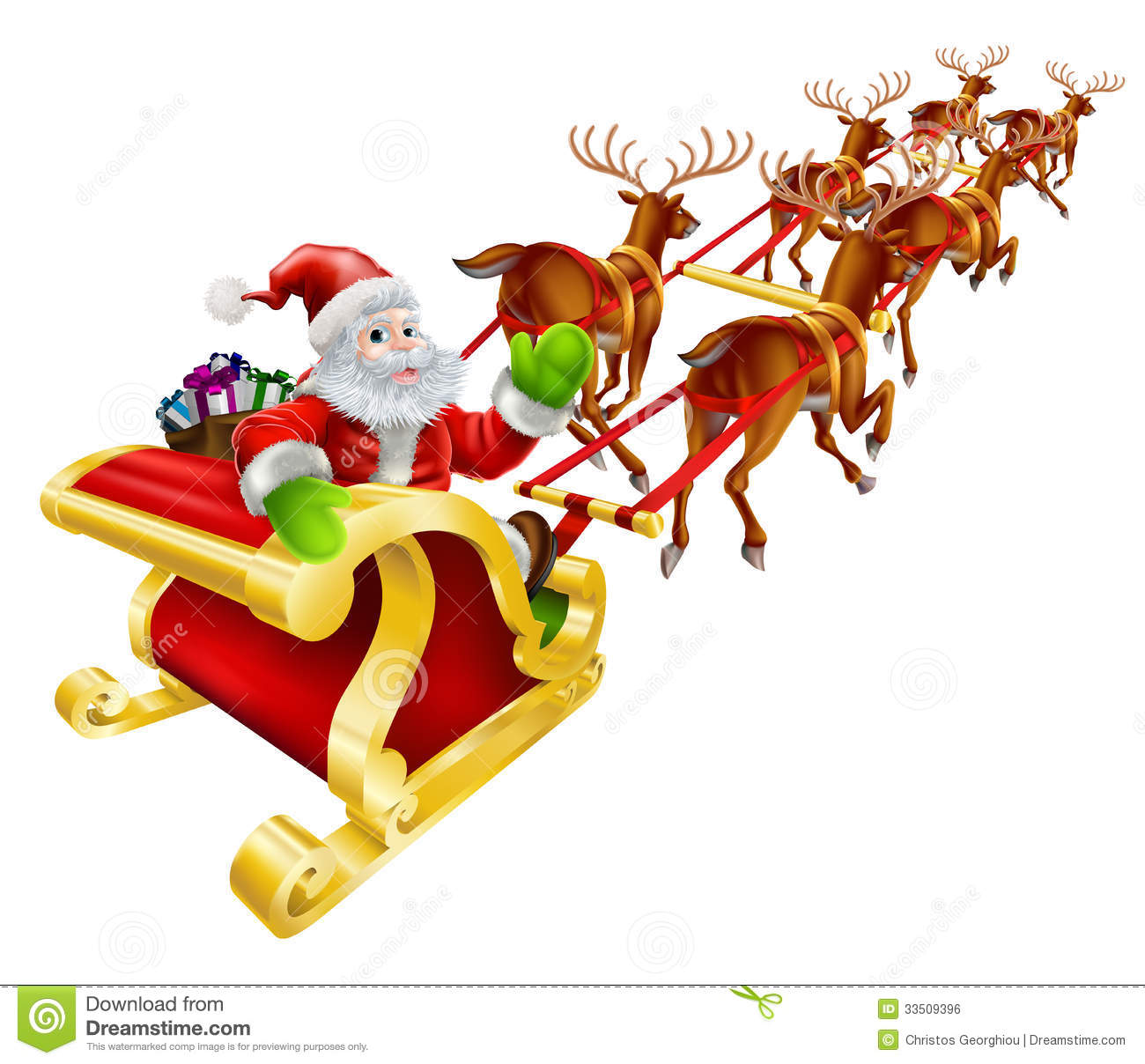 Santa Sleigh Flying Clipart.