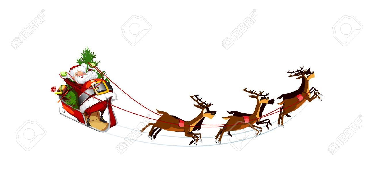 santa flying in his sleigh clipart - Clipground