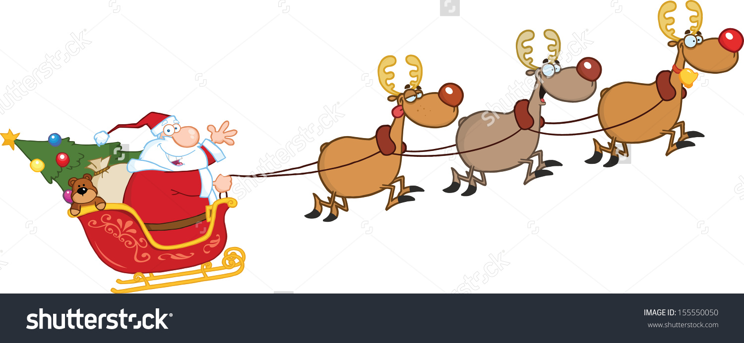 santa on his sleigh clipart - Clipground